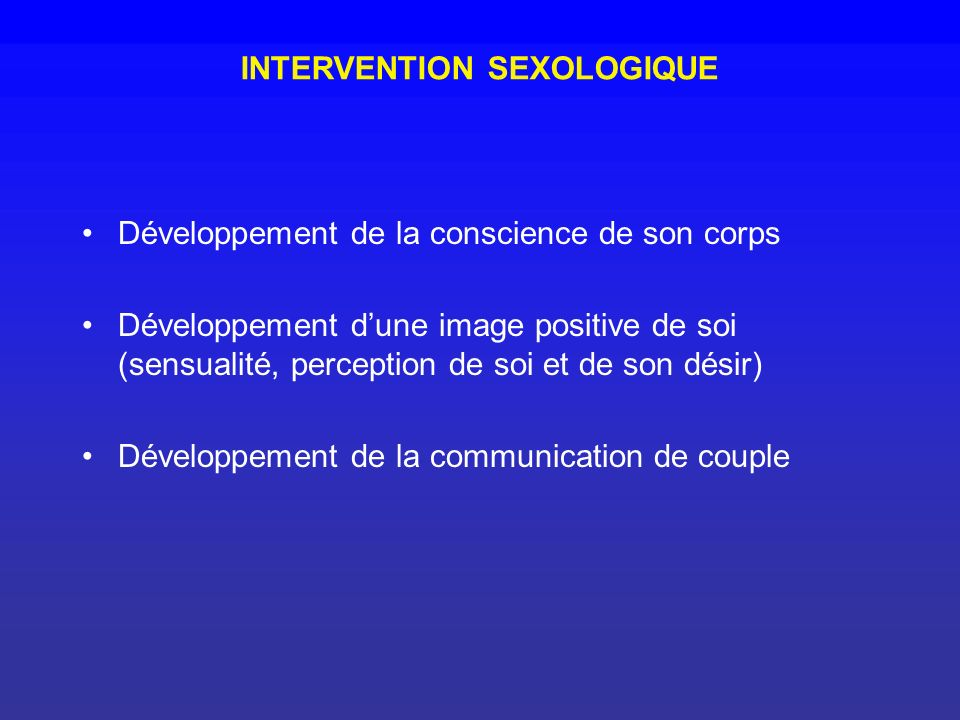 INTERVENTION SEXOLOGIQUE