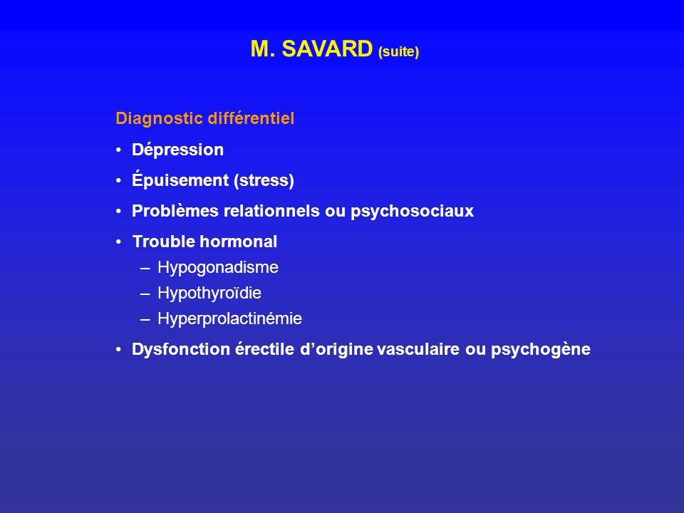 M. SAVARD (suite) Diagnostic différentiel Dépression