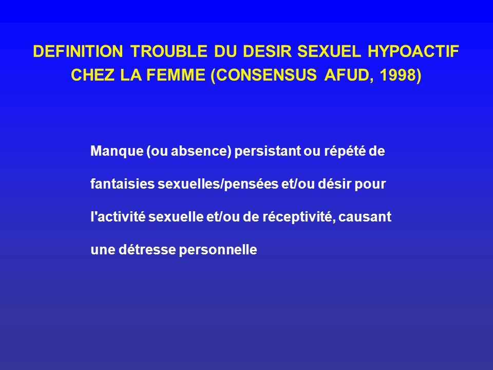 DEFINITION TROUBLE DU DESIR SEXUEL HYPOACTIF CHEZ LA FEMME (CONSENSUS AFUD, 1998)