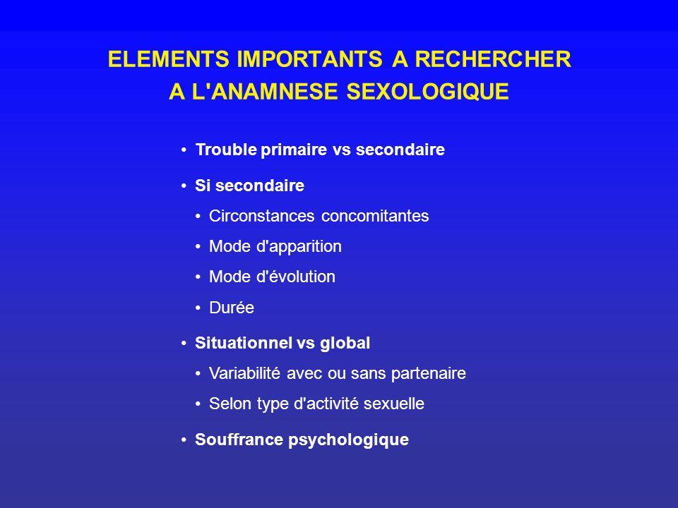 ELEMENTS IMPORTANTS A RECHERCHER A L ANAMNESE SEXOLOGIQUE