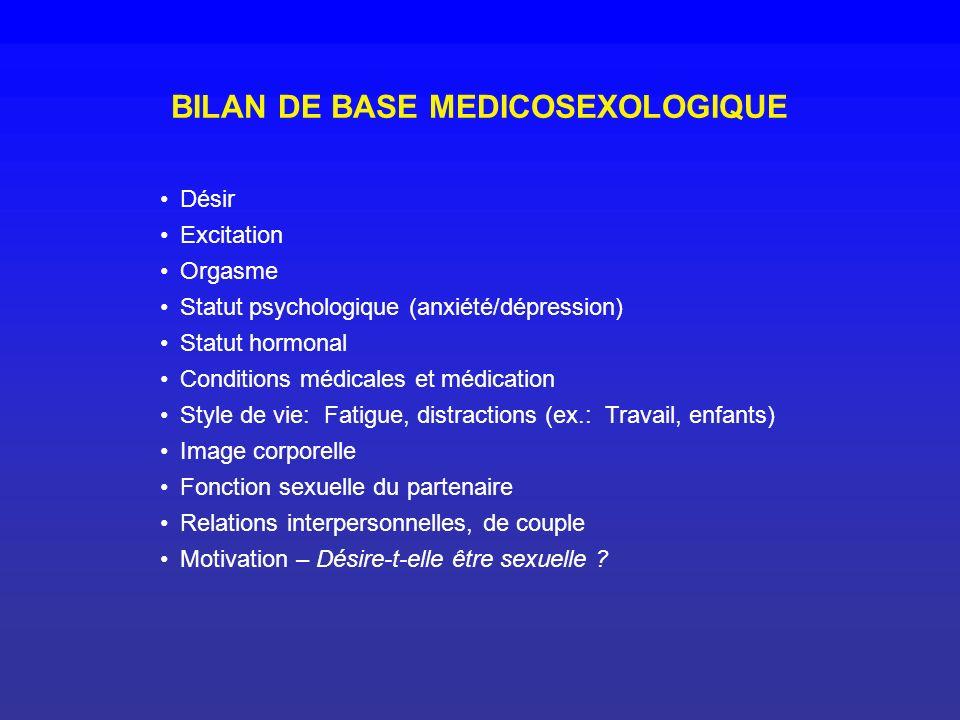 BILAN DE BASE MEDICOSEXOLOGIQUE
