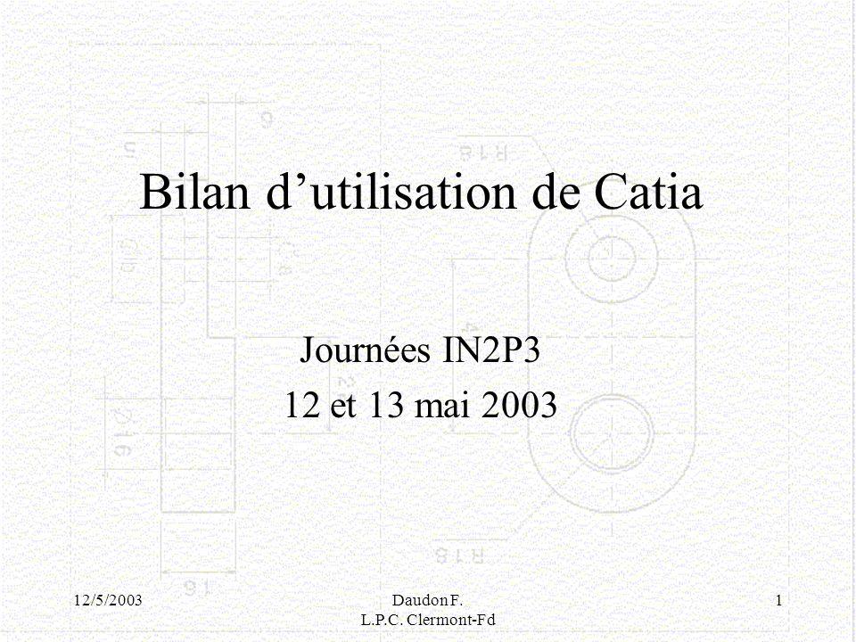 Bilan d'utilisation de Catia