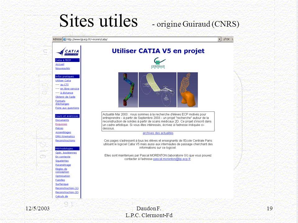 Sites utiles - origine Guiraud (CNRS)