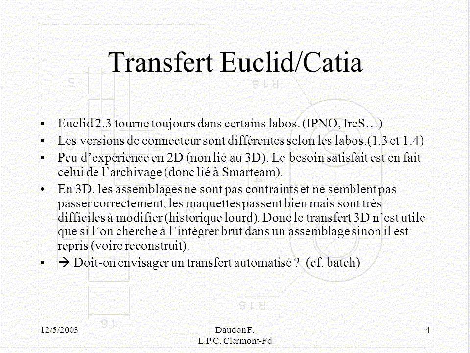 Transfert Euclid/Catia