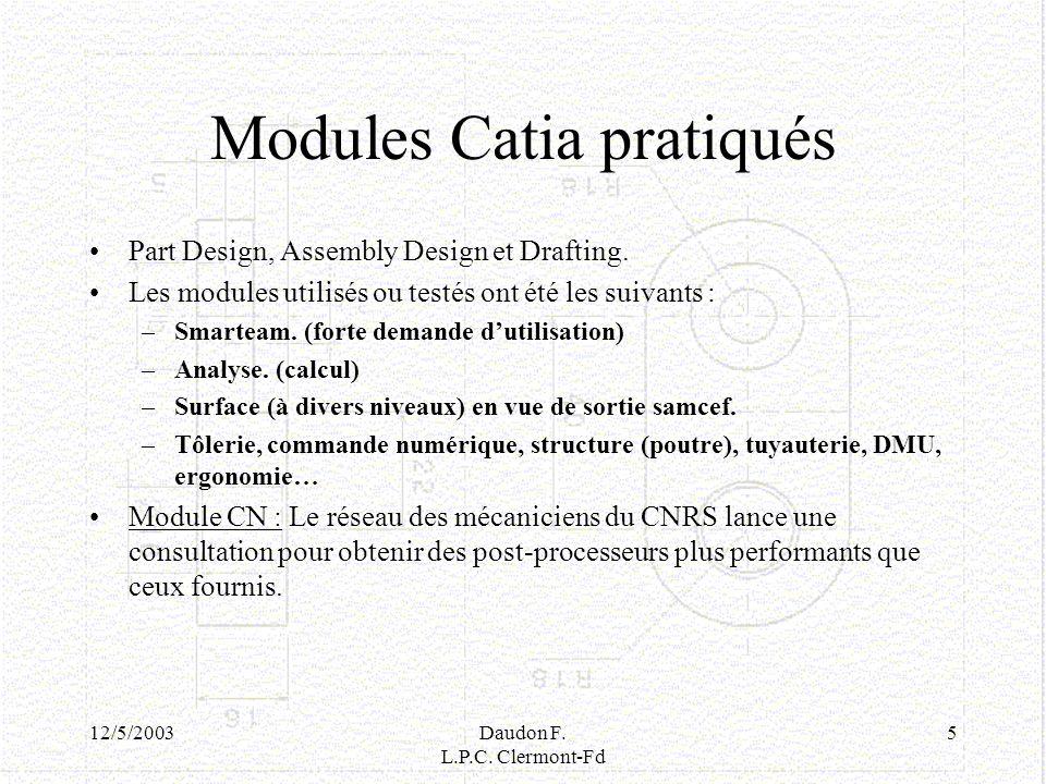 Modules Catia pratiqués