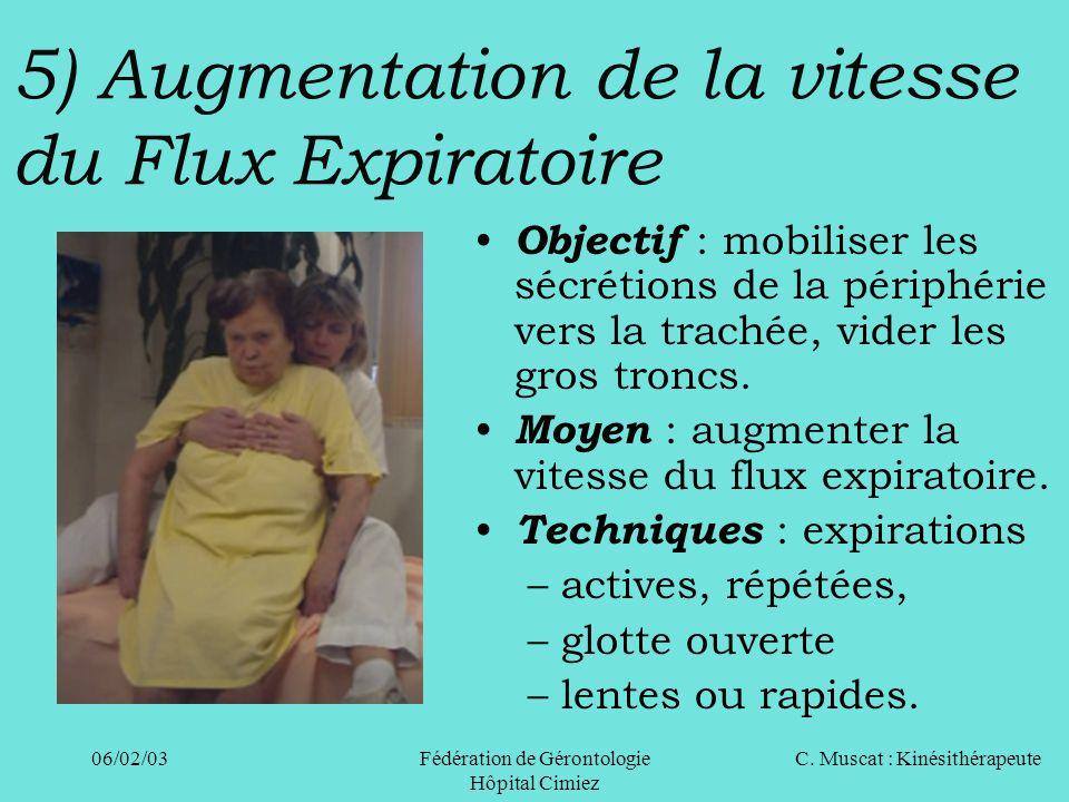 5) Augmentation de la vitesse du Flux Expiratoire