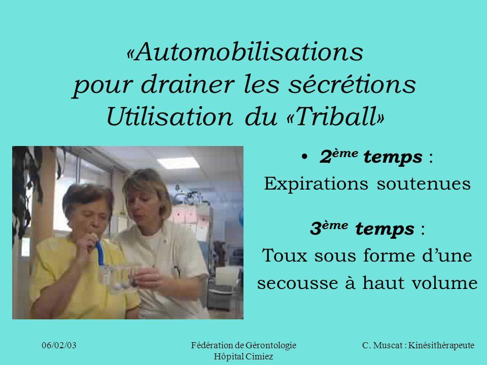 «Automobilisations pour drainer les sécrétions Utilisation du «Triball»
