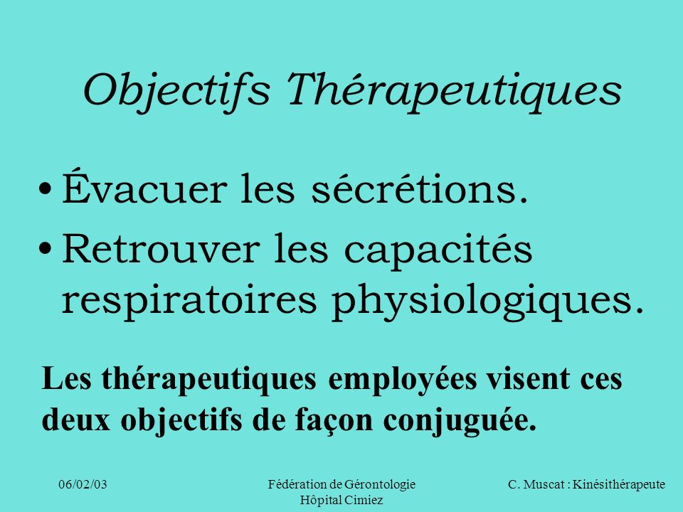 Objectifs Thérapeutiques
