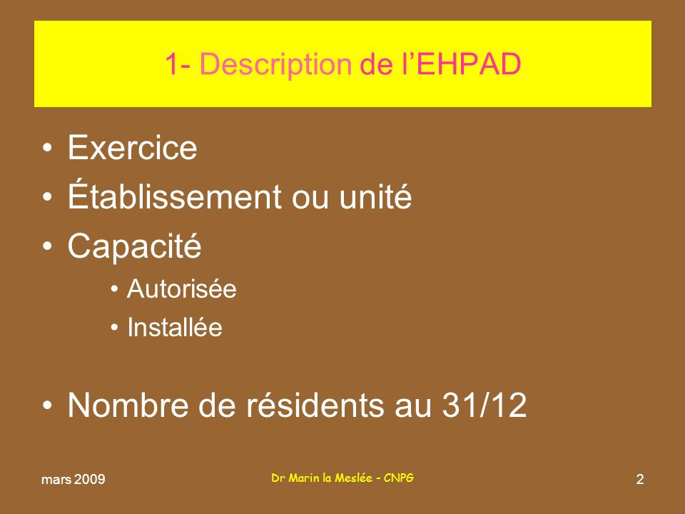 1- Description de l'EHPAD