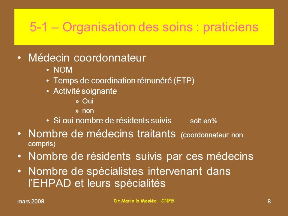 5-1 – Organisation des soins : praticiens