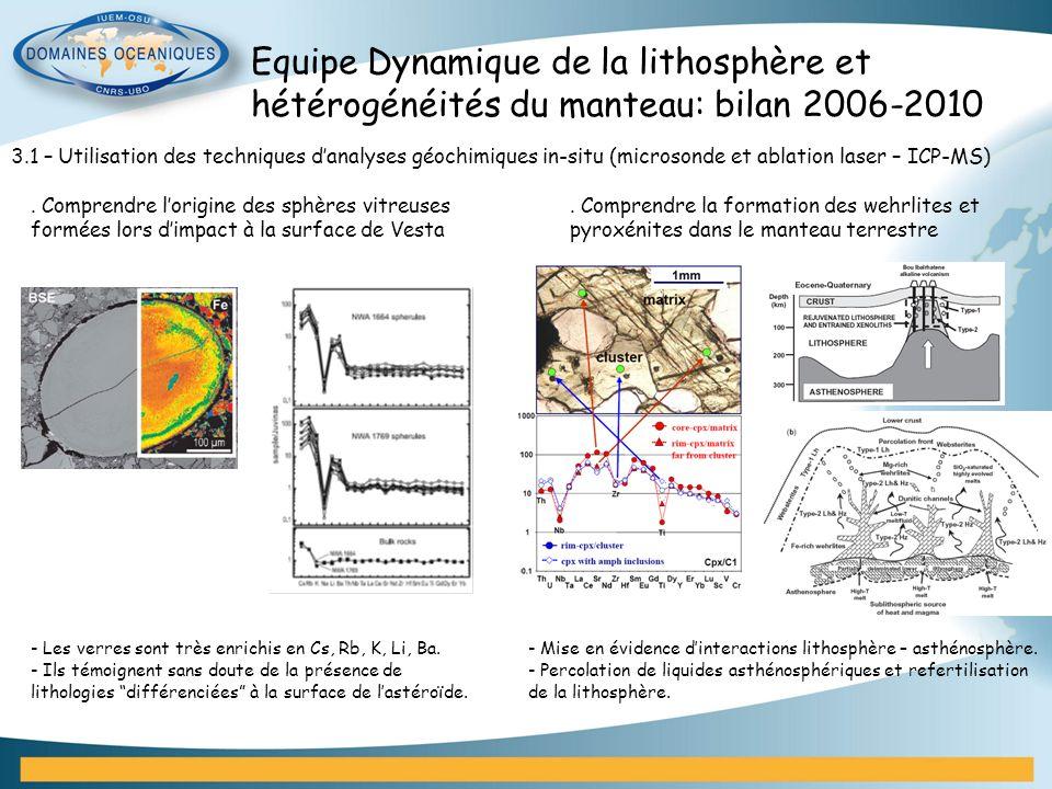 Equipe Dynamique de la lithosphère et hétérogénéités du manteau: bilan 2006-2010