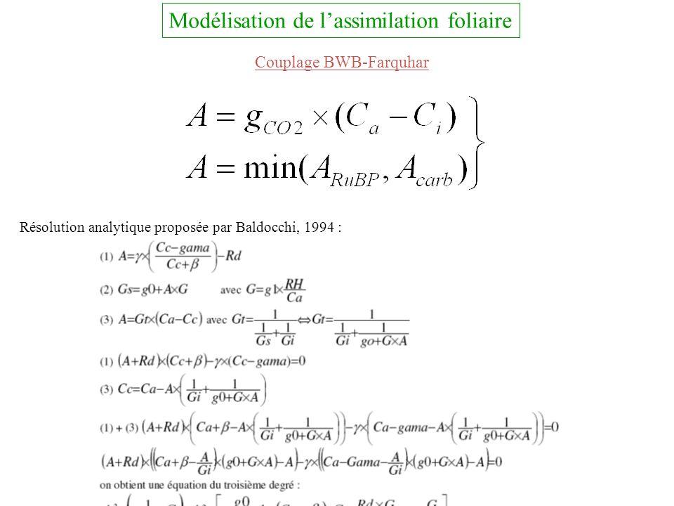 Modélisation de l'assimilation foliaire