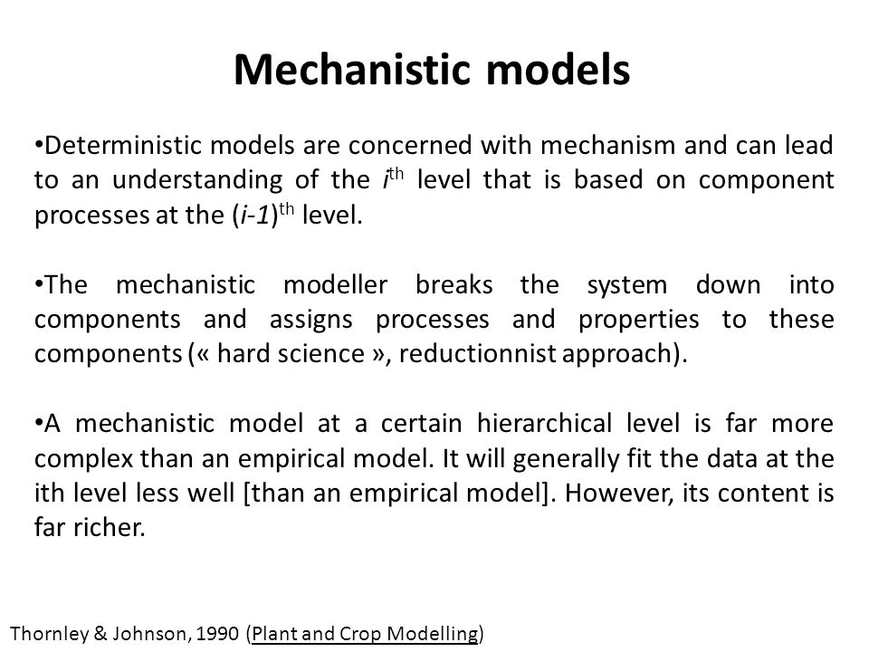 Mechanistic models