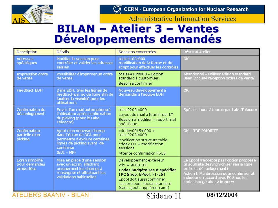 BILAN – Atelier 3 – Ventes Développements demandés
