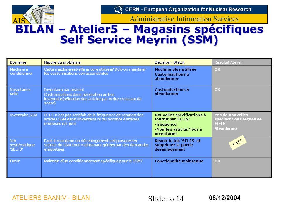 BILAN – Atelier5 – Magasins spécifiques Self Service Meyrin (SSM)