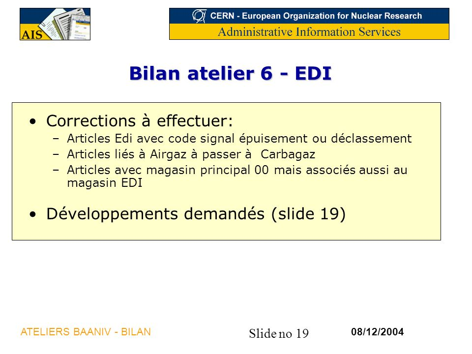 Bilan atelier 6 - EDI Corrections à effectuer: