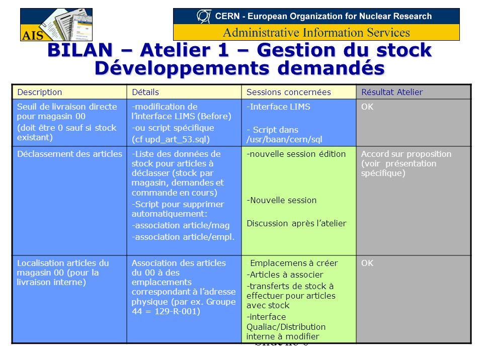 BILAN – Atelier 1 – Gestion du stock Développements demandés