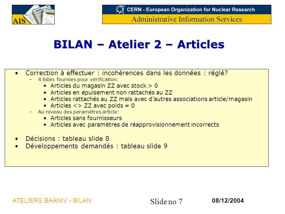 BILAN – Atelier 2 – Articles