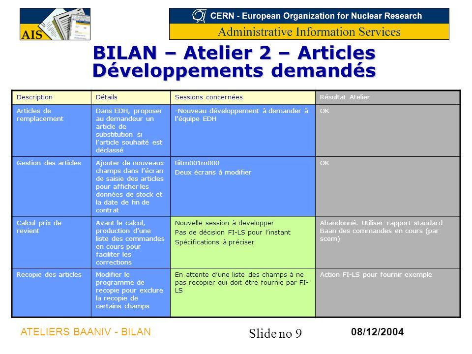 BILAN – Atelier 2 – Articles Développements demandés