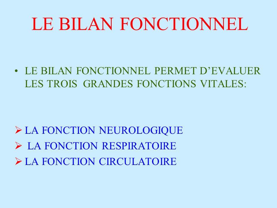 LE BILAN FONCTIONNEL LE BILAN FONCTIONNEL PERMET D'EVALUER LES TROIS GRANDES FONCTIONS VITALES: LA FONCTION NEUROLOGIQUE.