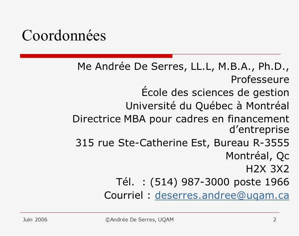 Coordonnées Me Andrée De Serres, LL.L, M.B.A., Ph.D., Professeure