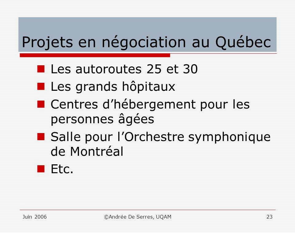 Projets en négociation au Québec