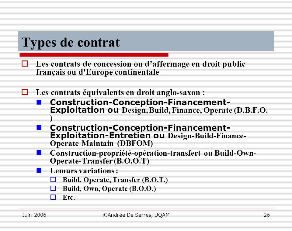 Types de contrat Les contrats de concession ou d'affermage en droit public français ou d Europe continentale.