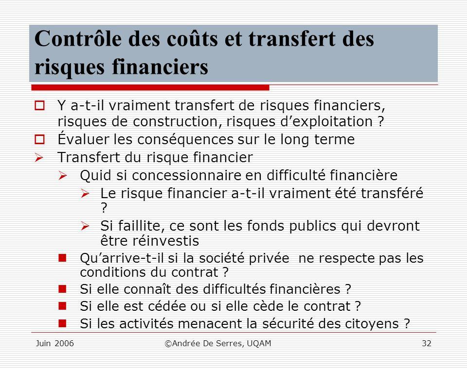 Contrôle des coûts et transfert des risques financiers