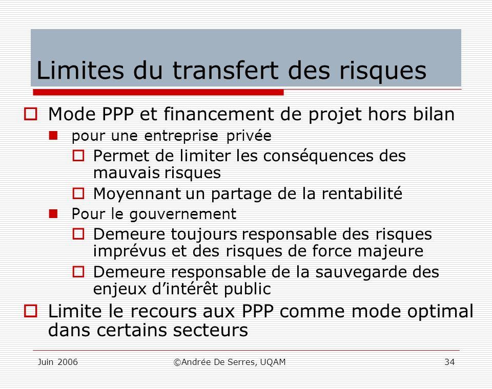 Limites du transfert des risques