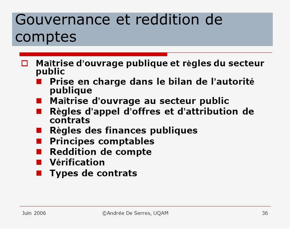 Gouvernance et reddition de comptes