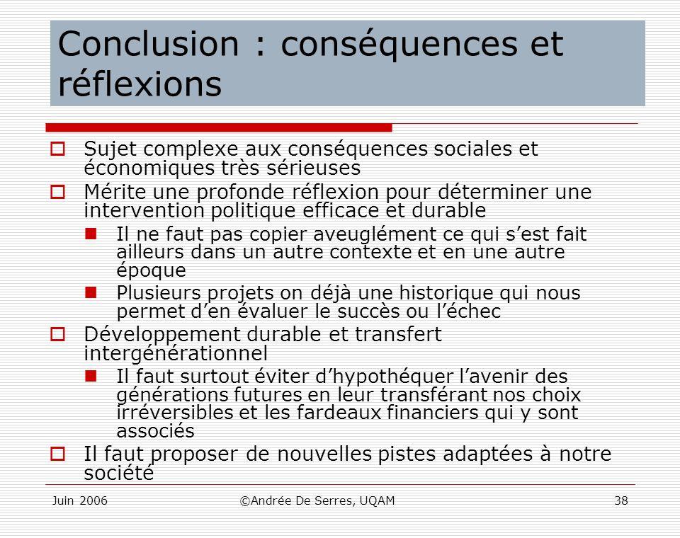 Conclusion : conséquences et réflexions