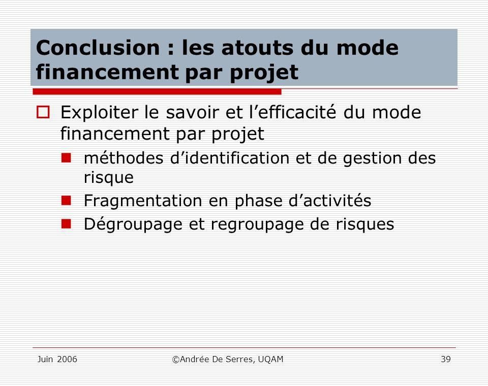 Conclusion : les atouts du mode financement par projet