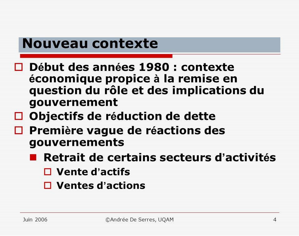 Nouveau contexte Début des années 1980 : contexte économique propice à la remise en question du rôle et des implications du gouvernement.