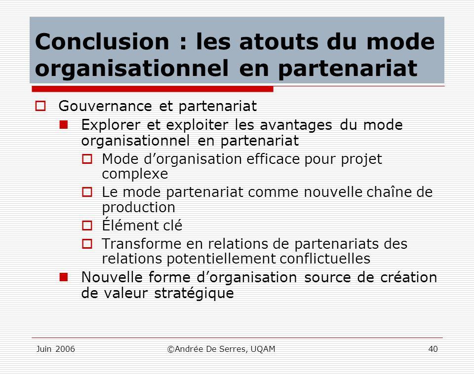Conclusion : les atouts du mode organisationnel en partenariat