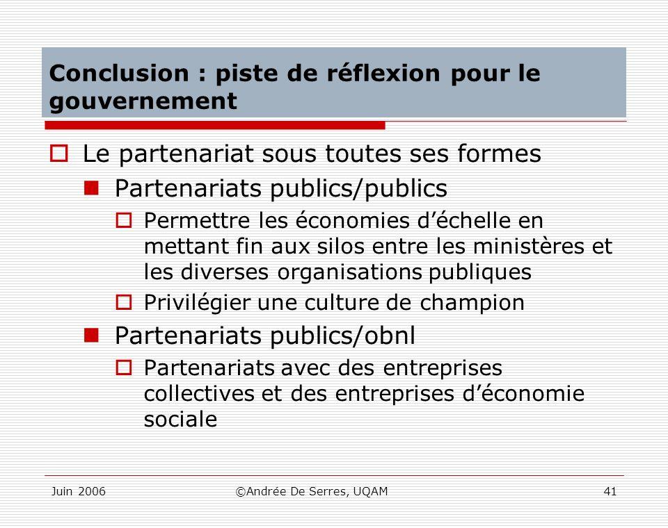 Conclusion : piste de réflexion pour le gouvernement