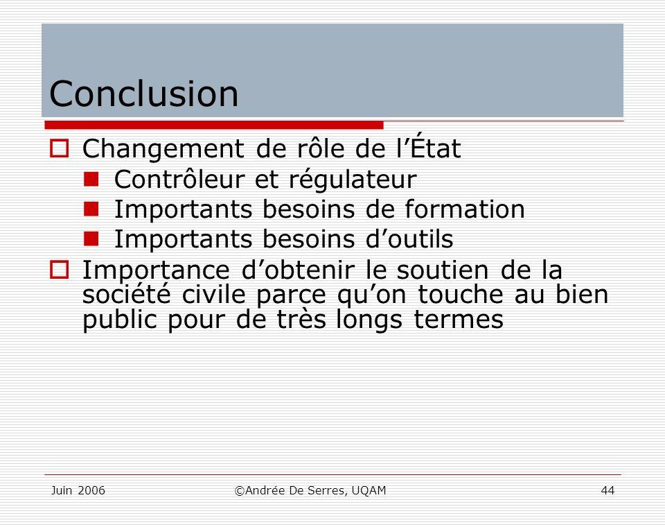 Conclusion Changement de rôle de l'État