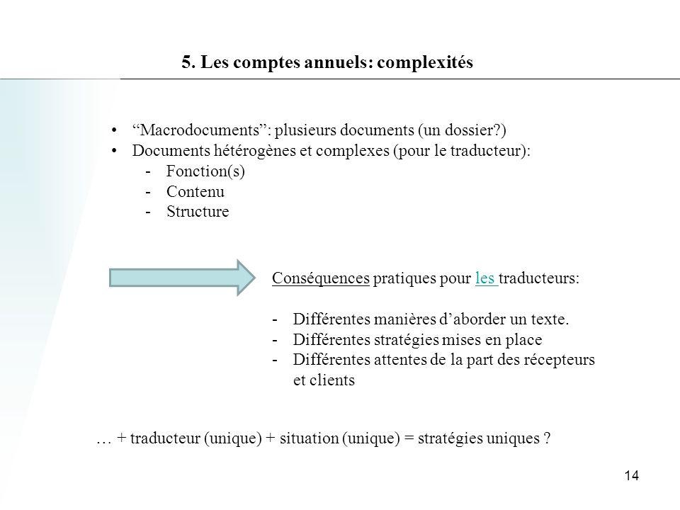 5. Les comptes annuels: complexités