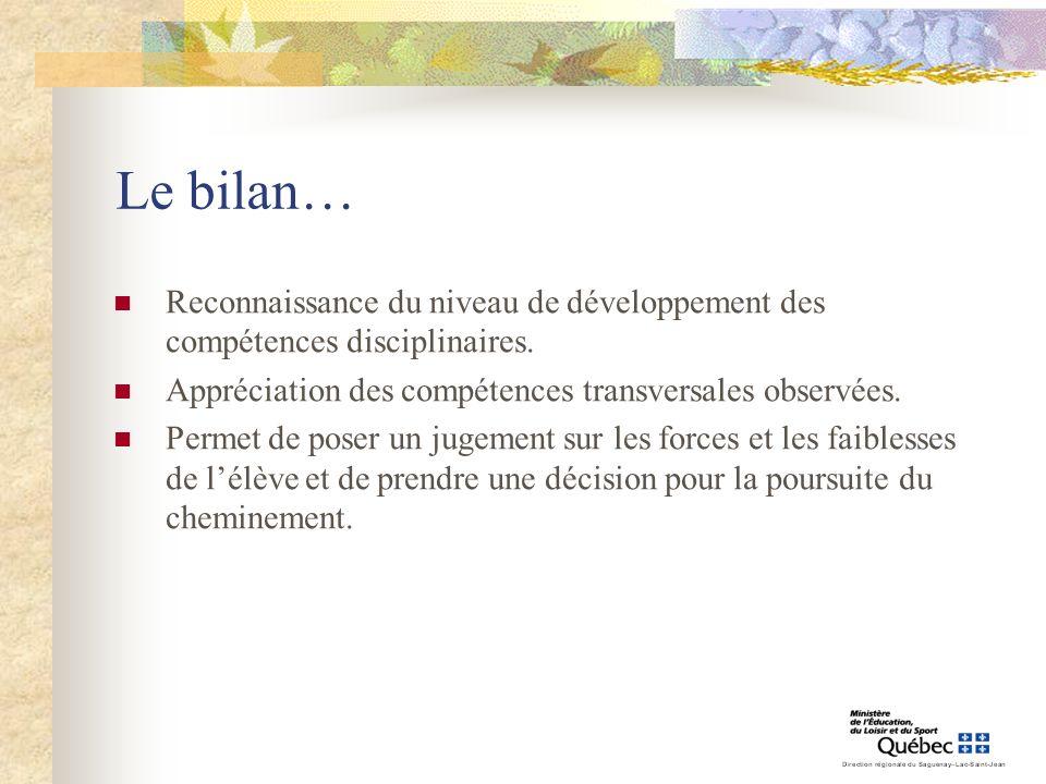 Le bilan… Reconnaissance du niveau de développement des compétences disciplinaires. Appréciation des compétences transversales observées.