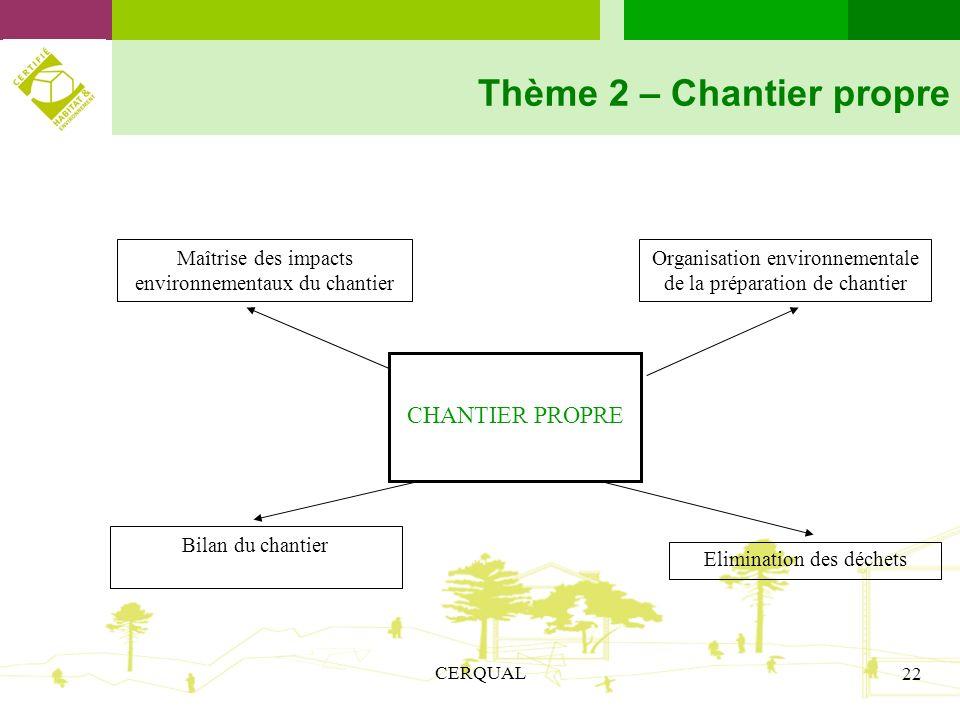 Thème 2 – Chantier propre