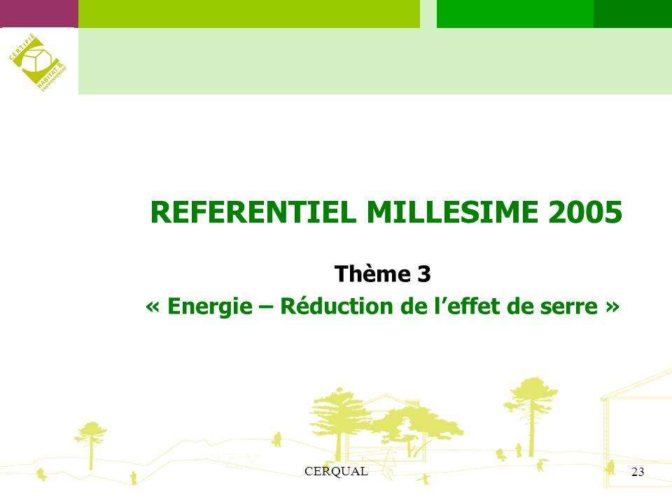 REFERENTIEL MILLESIME 2005 « Energie – Réduction de l'effet de serre »