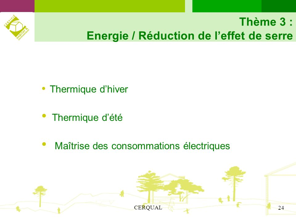 Thème 3 : Energie / Réduction de l'effet de serre