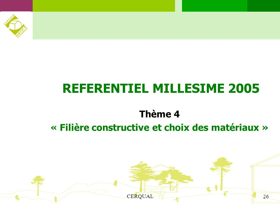 REFERENTIEL MILLESIME 2005