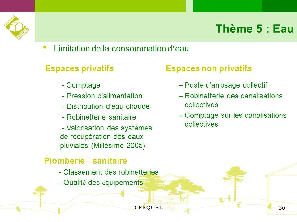 Thème 5 : Eau Espaces privatifs Limitation de la consommation d'eau