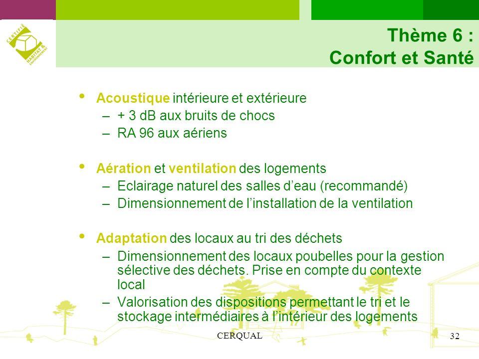 Thème 6 : Confort et Santé