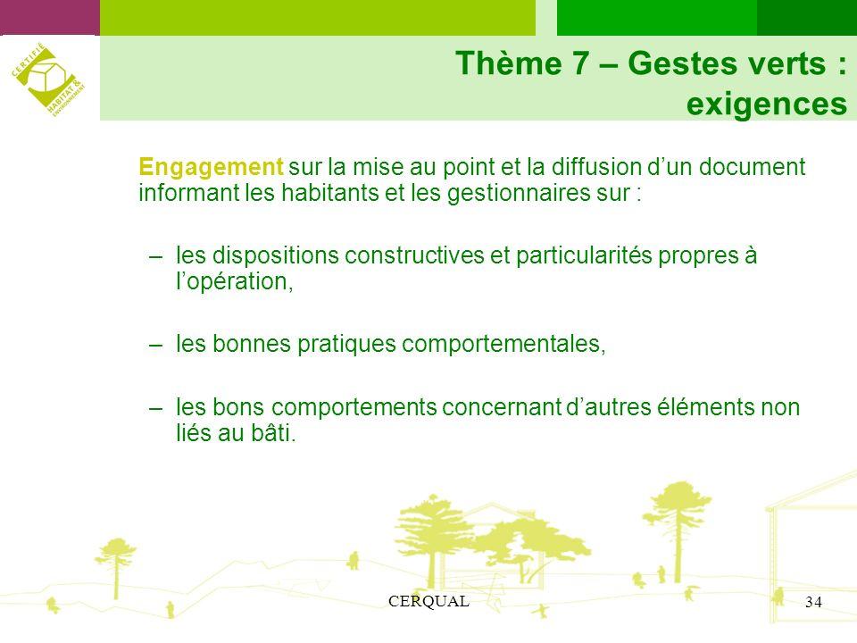 Thème 7 – Gestes verts : exigences