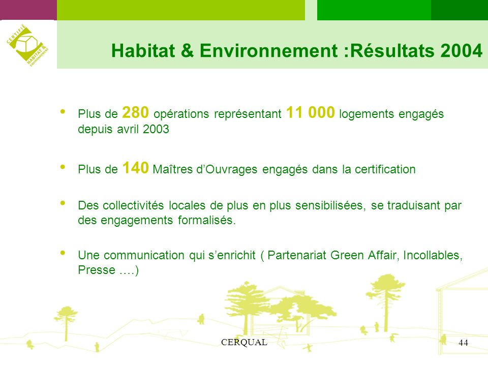 Habitat & Environnement :Résultats 2004