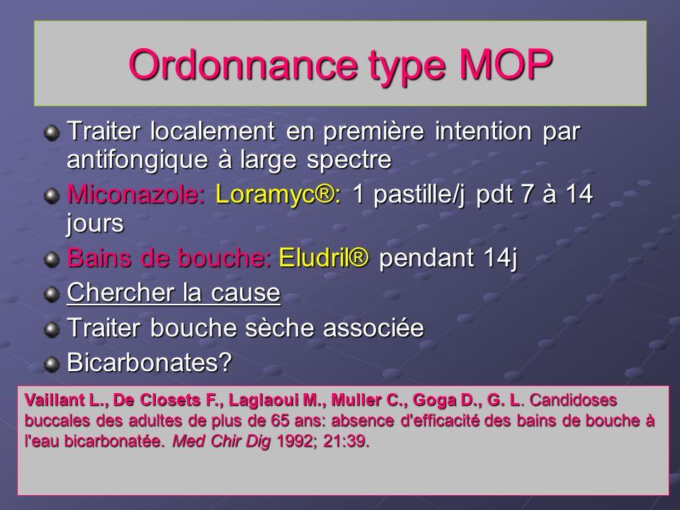 Ordonnance type MOP Traiter localement en première intention par antifongique à large spectre. Miconazole: Loramyc®: 1 pastille/j pdt 7 à 14 jours.