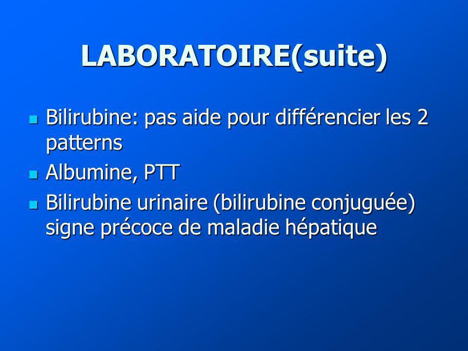 LABORATOIRE(suite) Bilirubine: pas aide pour différencier les 2 patterns. Albumine, PTT.