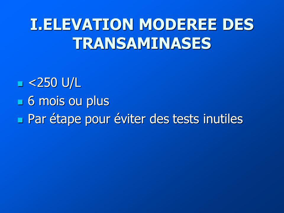 I.ELEVATION MODEREE DES TRANSAMINASES