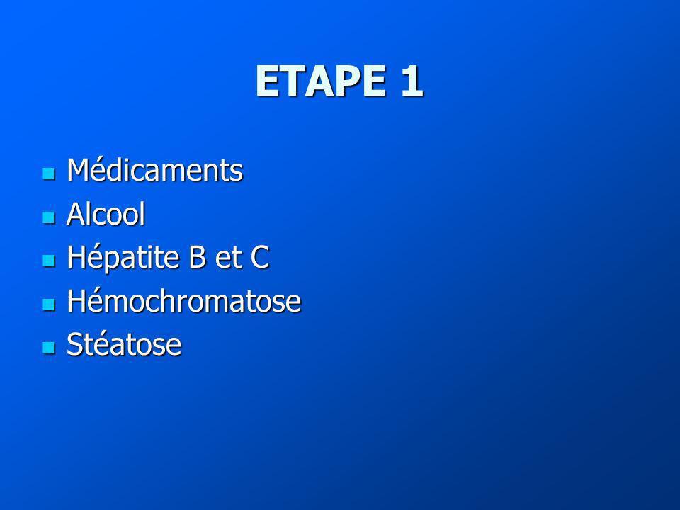 ETAPE 1 Médicaments Alcool Hépatite B et C Hémochromatose Stéatose
